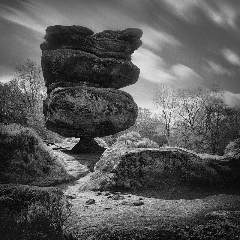 Idle Rock,Brimham Rocks (square format) - Infrared