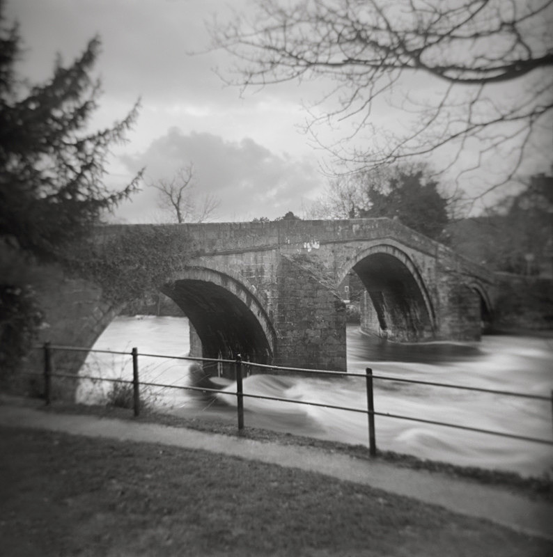 Black and White Photograph Of The Pack Horse Bridge In Ilkley West Yorkshire