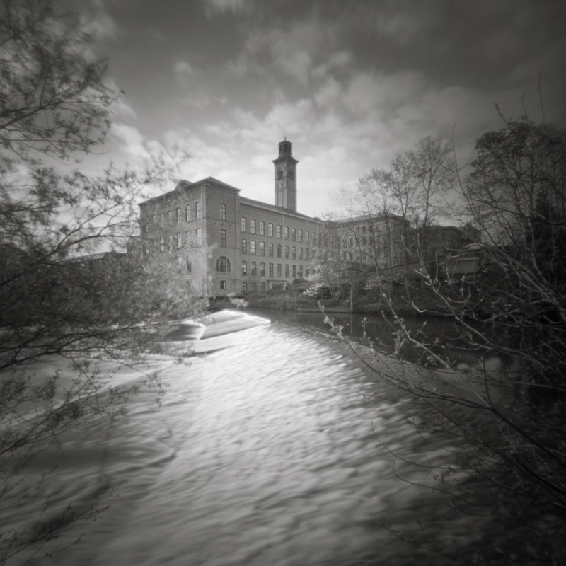 Salts Mill, Pinhole Capture (square format) - Salts Mill and Leeds-Liverpool Canal