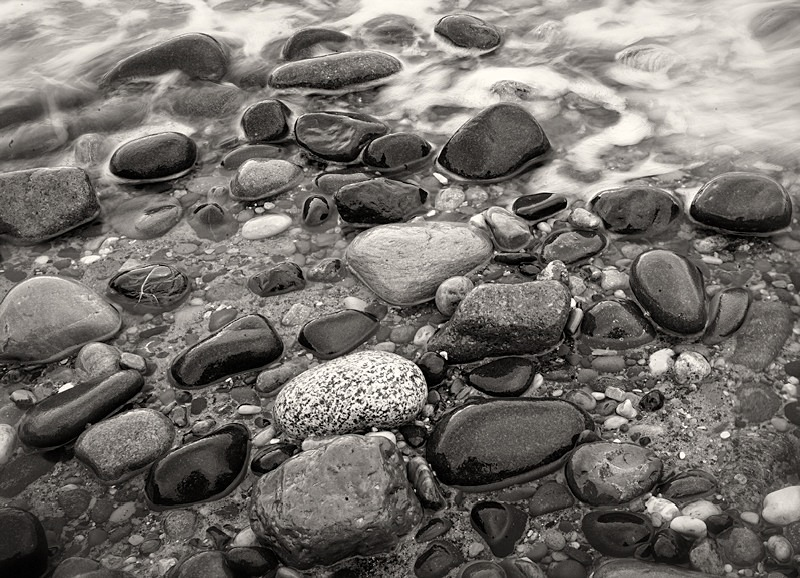 Pebbles Spurn Point in Black and White - Abstract & Still Life