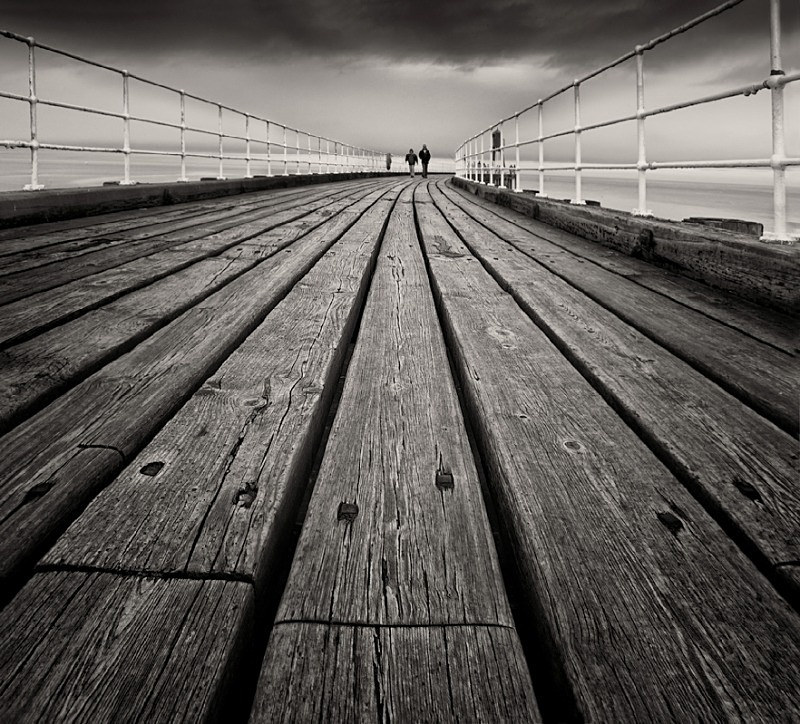 Wood Pier in Black & White Whitby - Abstract & Still Life