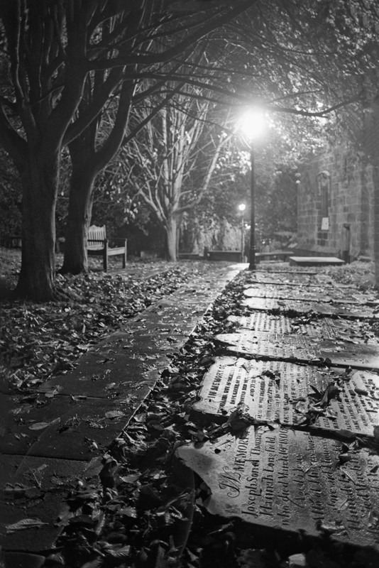 Otley Church path and Tombstones - Otley and Ilkley at Night