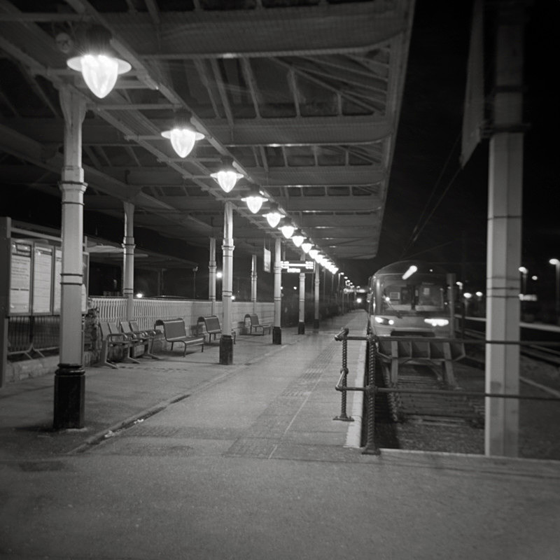 Black and White Photograph of ilkley Railway Station at Night