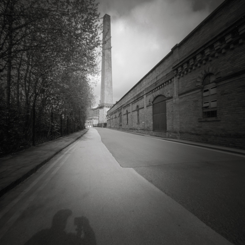 Salts Mill, Self Portraite, Pinhole (square format) - Salts Mill and Leeds-Liverpool Canal