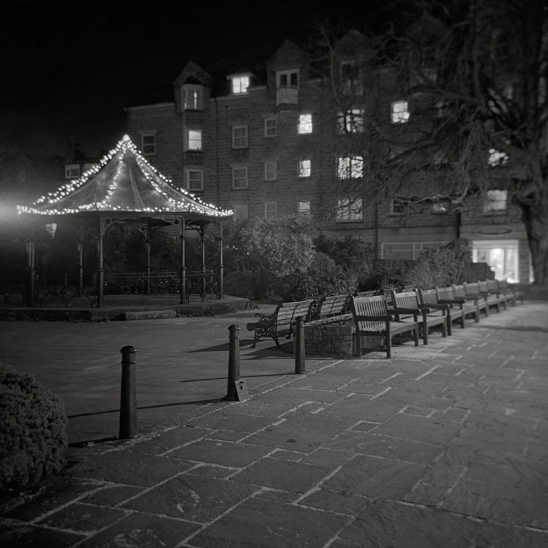 Black and White Photograph of Ilkley Bandstand taken at Night