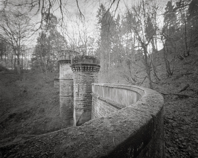 Black and White Photograph of Bramhope Tunnel Wall and Turrets - Bridges & Tunnels