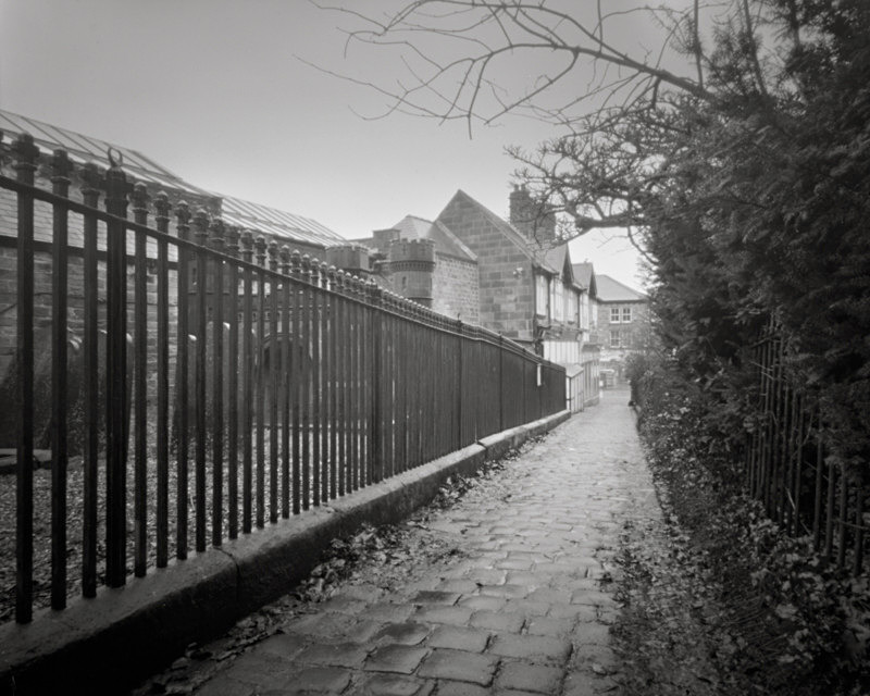 Black and White Photograph of Cobbled Street Otley West Yorkshire - Churches & Architecture