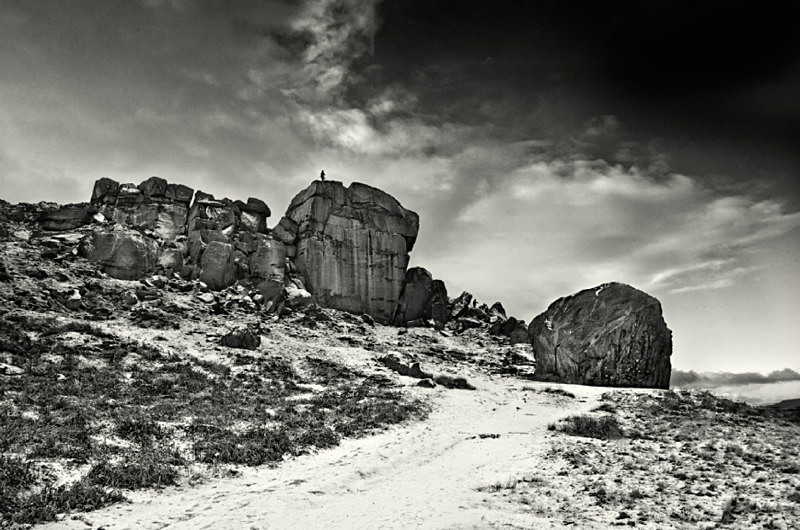 Winter scene of the Cow and Calf Ilkly