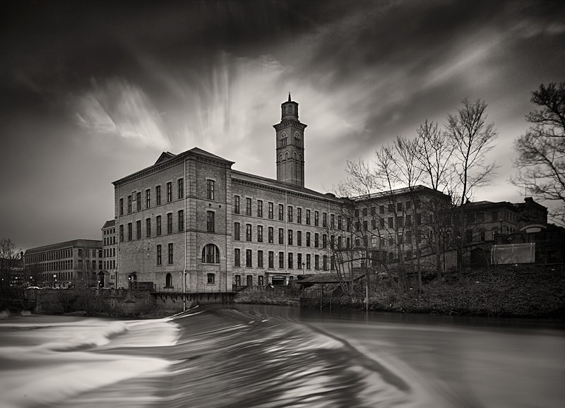 Salts Mill Weir black and white digital photography