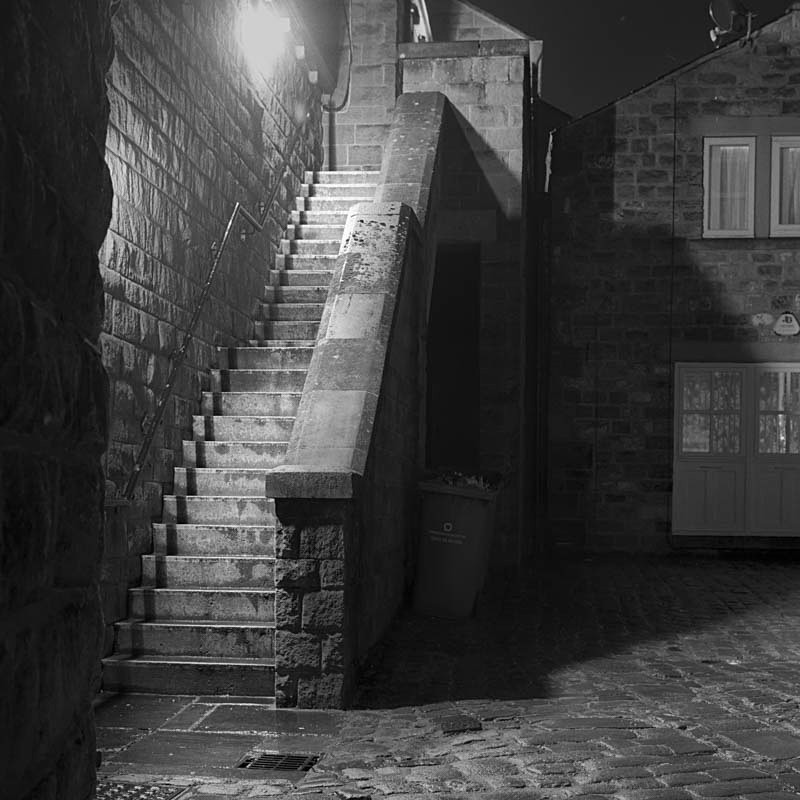Steps off Market Street Otley (square format) - Otley and Ilkley at Night