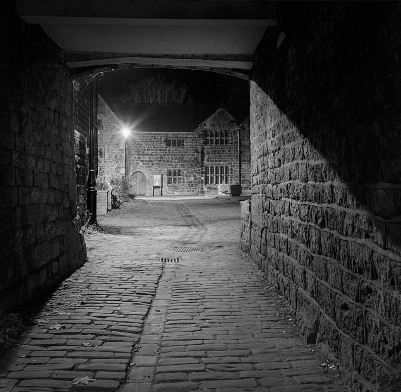 Approach to Castle Yard Ilkley (square format) - Otley and Ilkley at Night