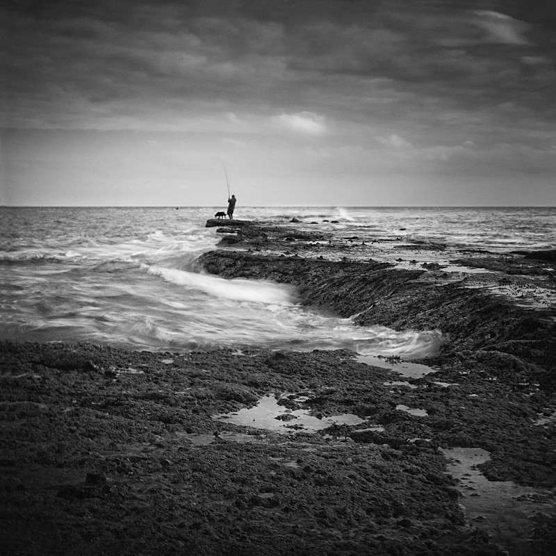 Fishing on Filey Brigg (square format) - Water