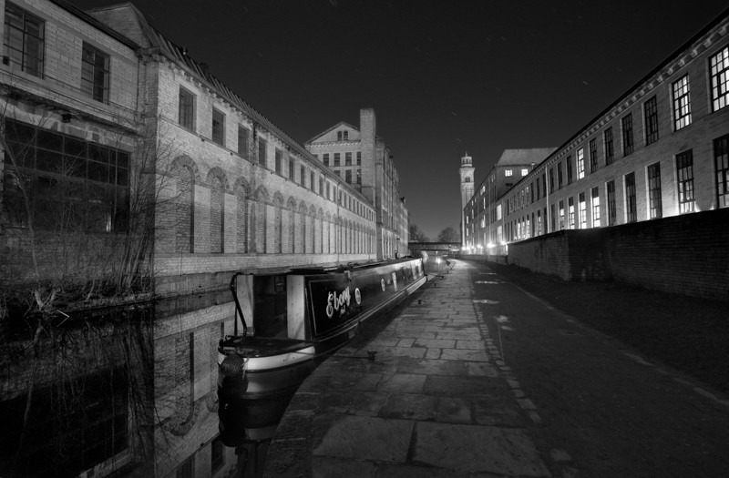 Salts Mill Canal and Barge - Night Exposures