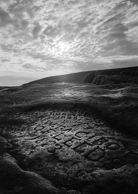 Names carved in Rock, 'The Cow' Ilkley - Landscapes
