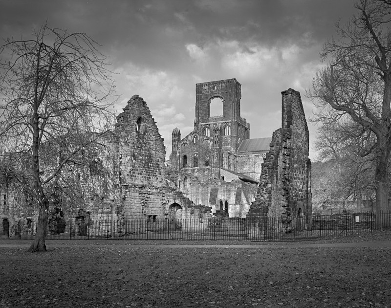 Black and White Photograpth of Kirkstall Abbey Ruins - Architecture