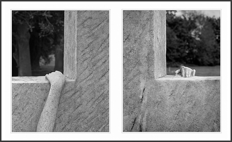 Hands on Grave Stone Diptych Otley Cemetary - Abstract & Still Life