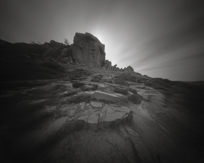 Black and White Picture of the Cow and Calf Rocks Ilkley