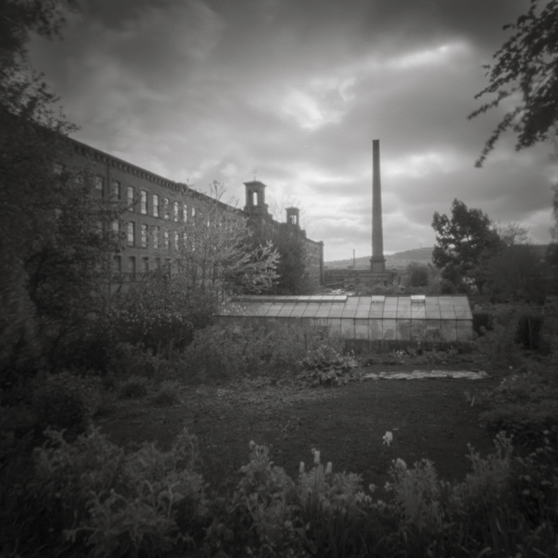 Salts Mill Allotment Side, Pinhole (square format) - Salts Mill and Leeds-Liverpool Canal