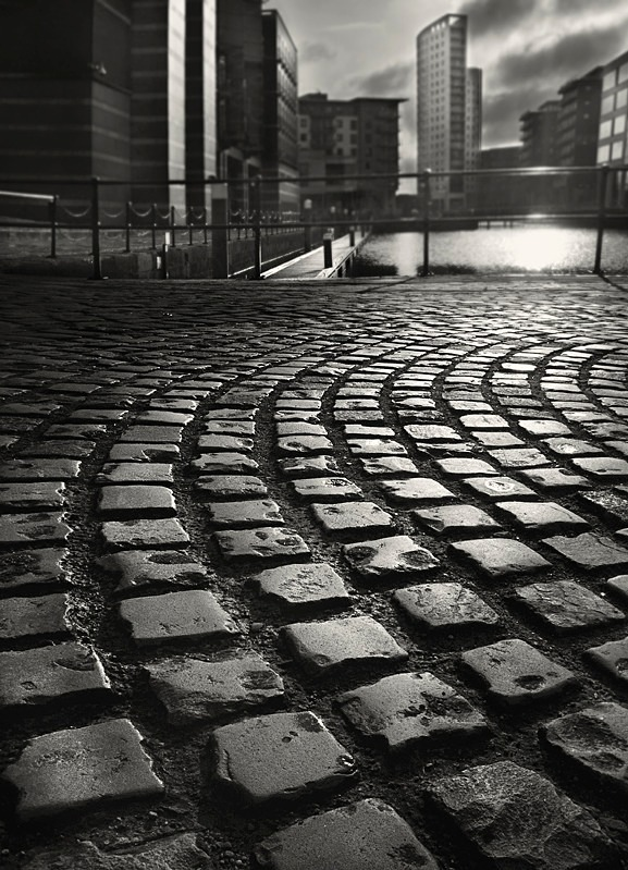 Black & White Photograph of Cobble Path Leeds - Abstract & Still Life