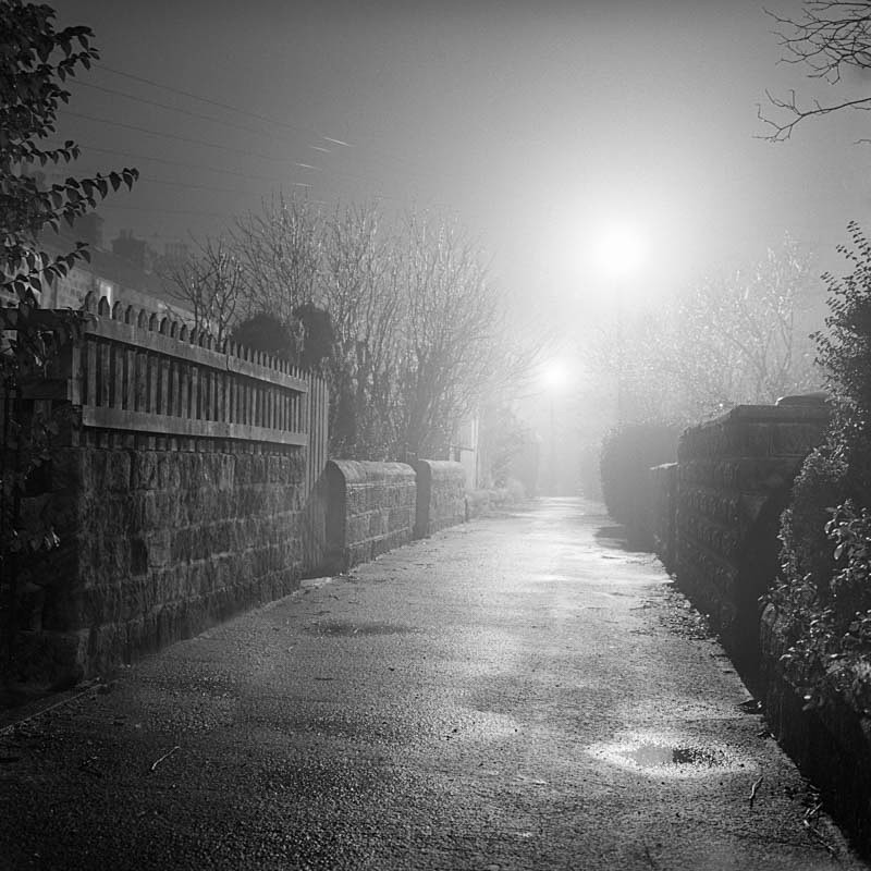 Mount Pisgah Otley, Misty Night (square format) - Otley and Ilkley at Night