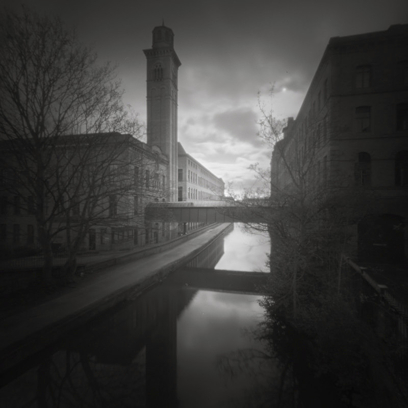 Salts Mill From Canal Bridge, Pinhole (square format) - Salts Mill and Leeds-Liverpool Canal