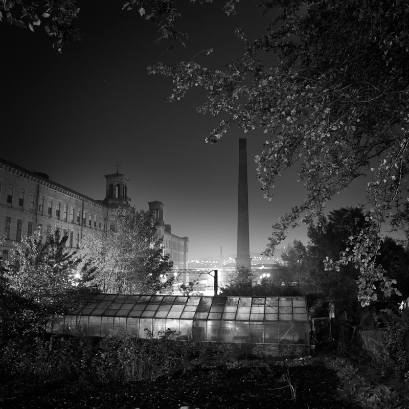 Salts Mill and Chimney 1 (square format) - Night Exposures