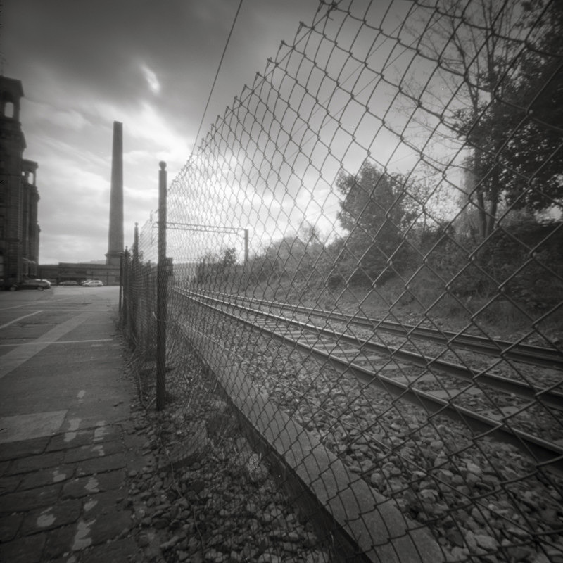 Salts Mill Railway Side, Pinhole (square format) - Salts Mill and Leeds-Liverpool Canal