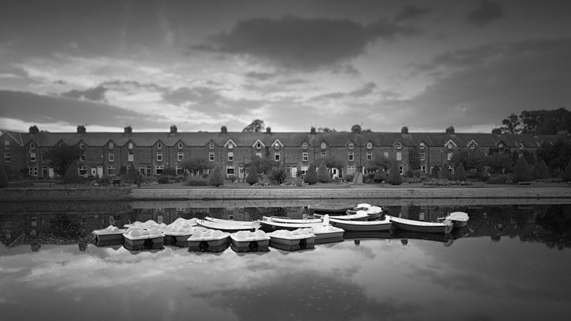 Boats on the river Wharfe at Otley - Panoramic