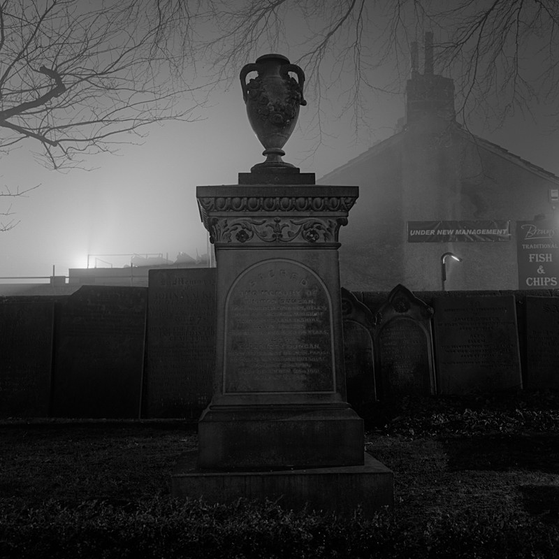 Grave Stone in Bridge Church Otley (square format) - Otley and Ilkley at Night