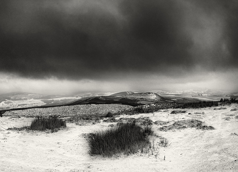 Winter Black and White Photograph of Bardon Moor