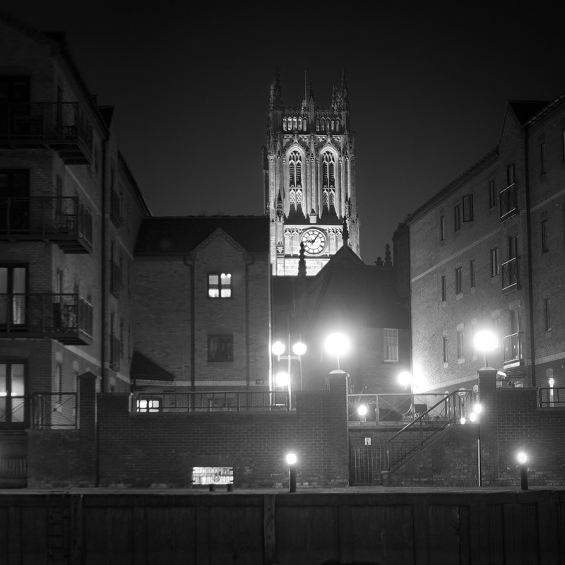 Leeds Church over River Aire (square format) - Night Exposures