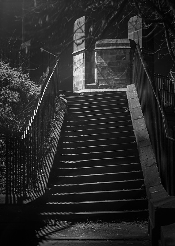 Steps to Ilkley Iron Bridge - Otley and Ilkley at Night