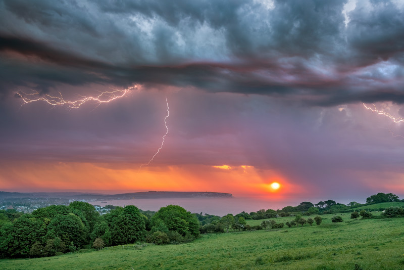 z3063 Storm at Sunrise over Sandown Bay - Sandown, Shanklin, Luccombe and Wroxall