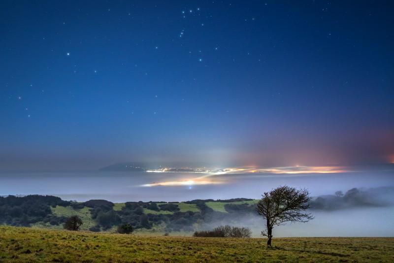 z3019 Midnight Mist over Sandown Bay - Sandown, Shanklin, Luccombe and Wroxall
