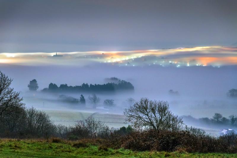 z2975 Winter Fog over Sandown Bay - Sandown, Shanklin, Luccombe and Wroxall