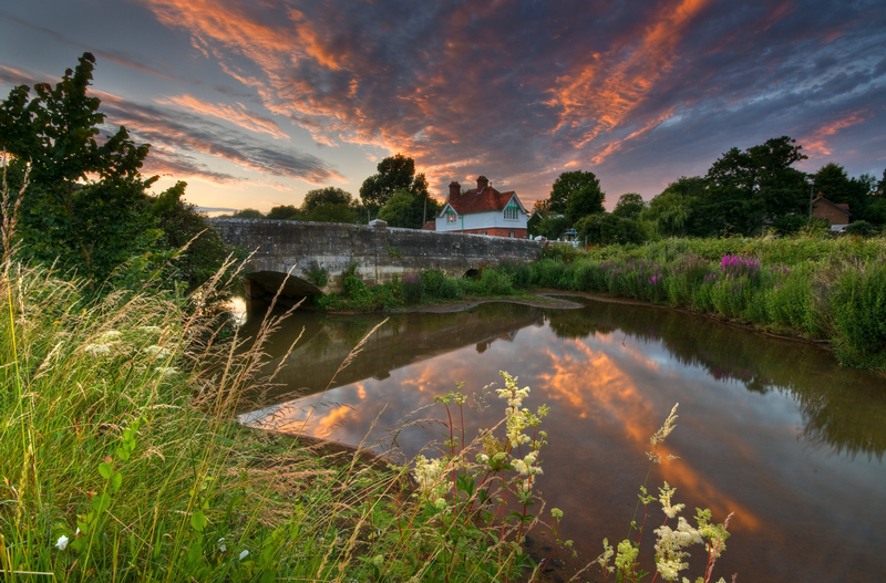 z1884 River Yar at Sunset, Alverstone - Sandown, Shanklin, Luccombe and Wroxall