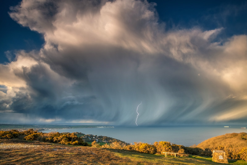 z2900 Evening Storm over Culver - Sandown, Shanklin, Luccombe and Wroxall