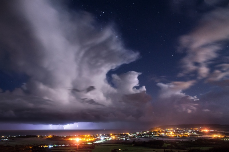 z2550 Midnight Storm by Moonlight, Sandown Bay - The Lightning Gallery