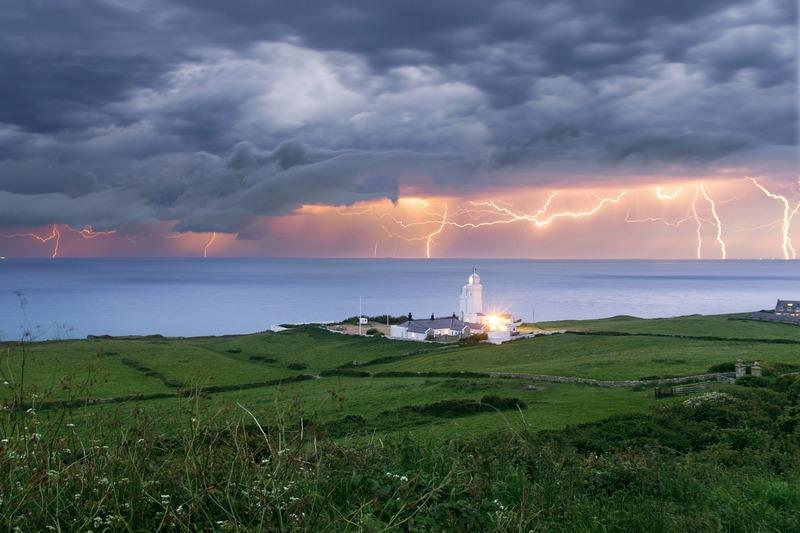 z2400 Evening Storm, St Catherines Lighthouse - The Lightning Gallery