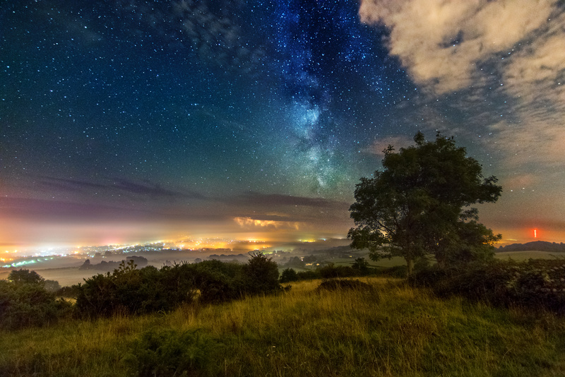 z2526 Distant Storm under the Misty Milky Way, Brading Down - Sandown, Shanklin, Luccombe and Wroxall