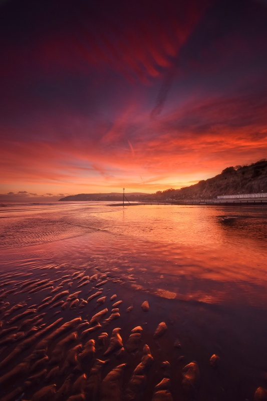 z2598 Sunset, Sandown beach - Sandown, Shanklin, Luccombe and Wroxall