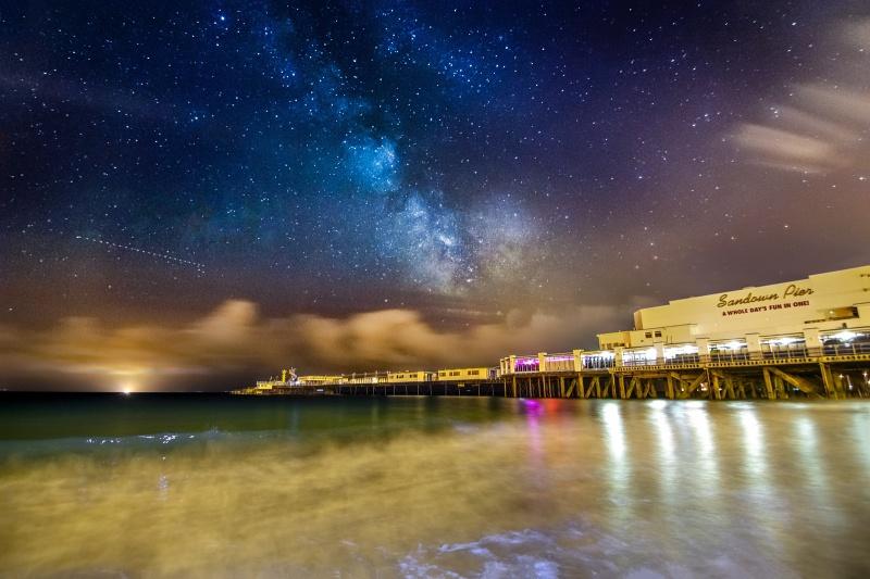 z2711 The Milky Way over Sandown Pier - Sandown, Shanklin, Luccombe and Wroxall