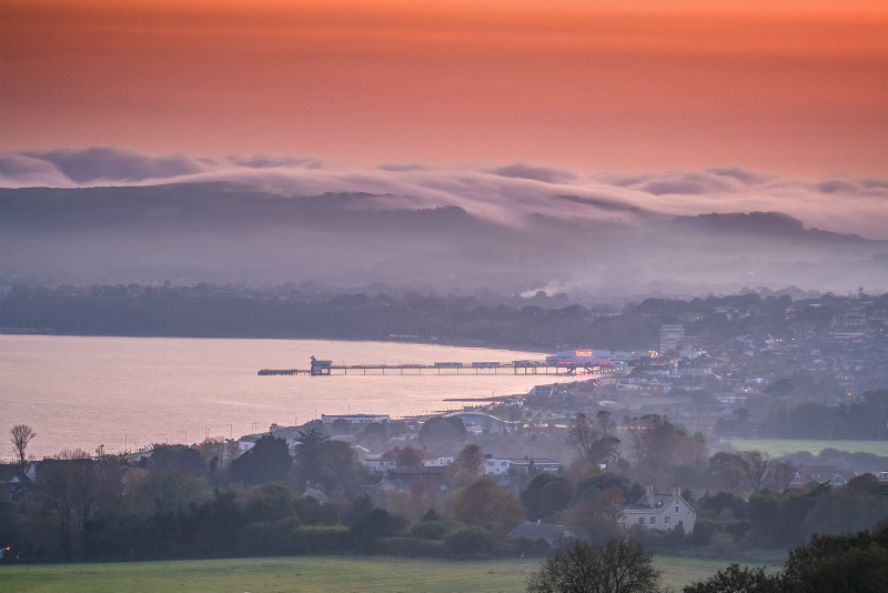 z3165 Evening Mist over Shanklin Down - Sandown, Shanklin, Luccombe and Wroxall