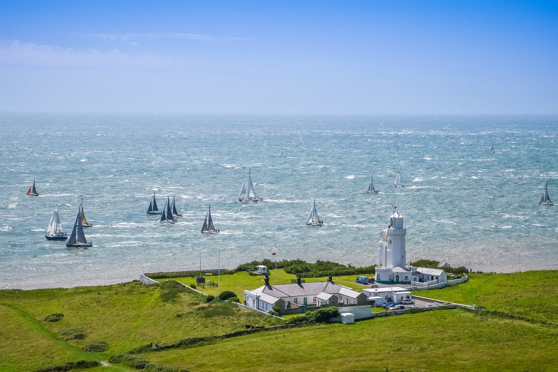 z2952 Round the Island Race at St Catherines Lighthouse - Time-lapse single images