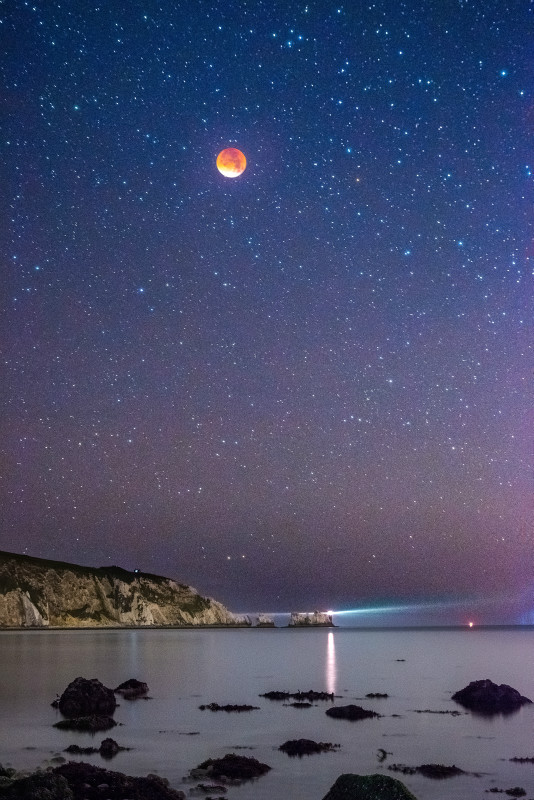 z2791 Supermoon Eclipse over The Needles - Freshwater Bay to Colwell Bay