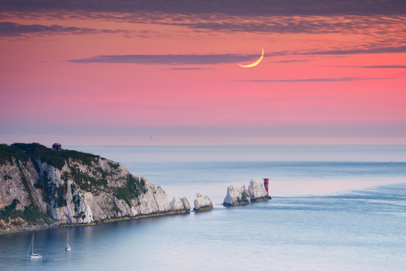 z2142 The Needles Moonset - Freshwater Bay to Colwell Bay