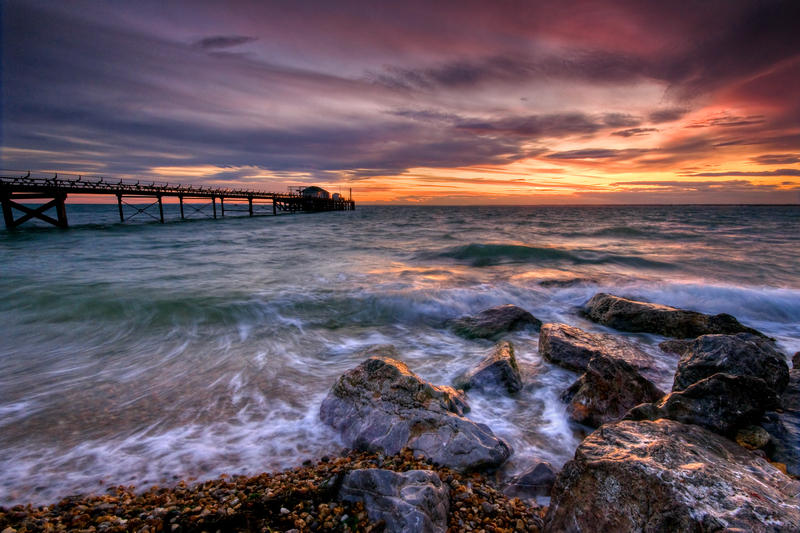 z1984 Totland Pier at Dusk - Yarmouth to West Cowes