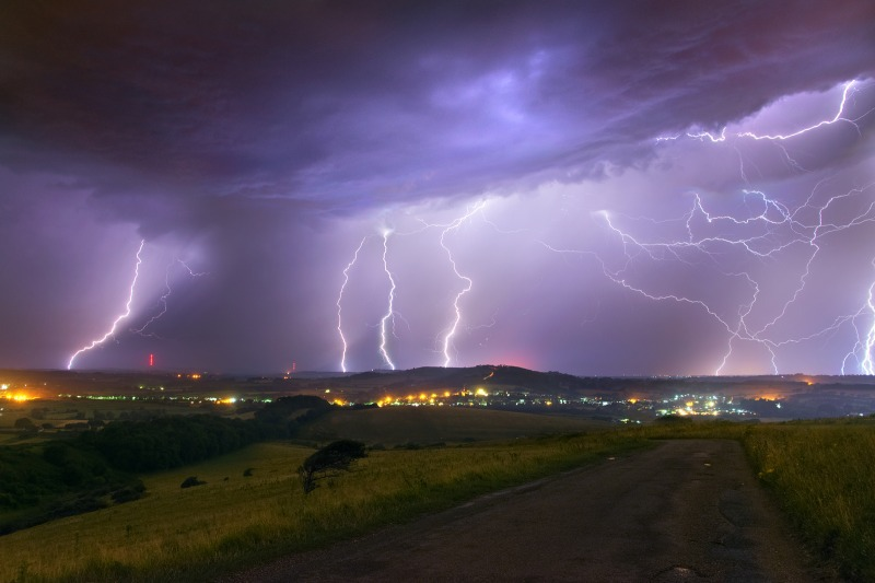 z2462 Night Storm from Culver Down - The Lightning Gallery