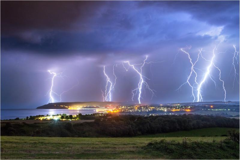 z2777 Late Summer Lightning over Sandown Bay - The Lightning Gallery