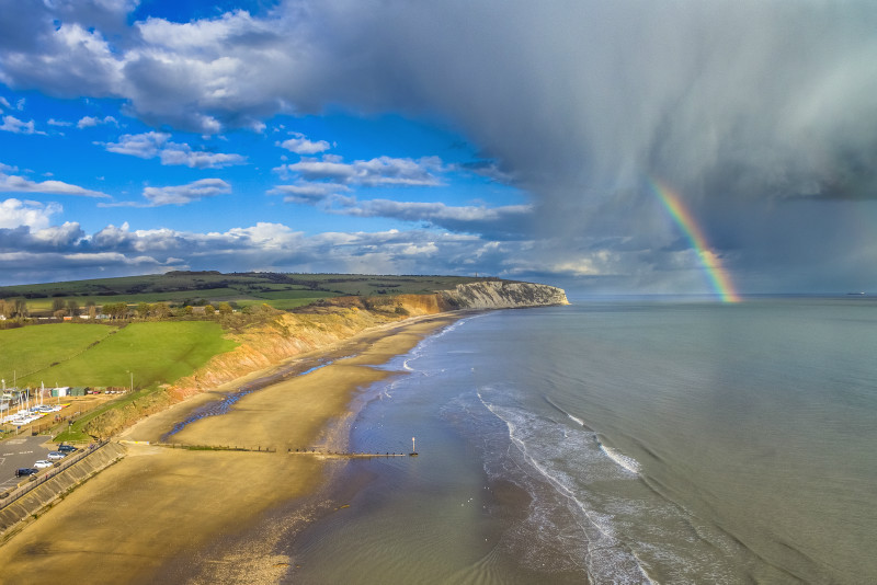 z2874 Evening Showers over Culver Down - Sandown, Shanklin, Luccombe and Wroxall